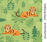 seamless pattern with tigers... | Shutterstock .eps vector #1951923661
