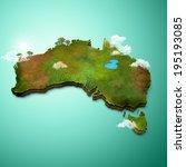 realistic 3d map of australia | Shutterstock . vector #195193085