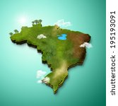 realistic 3d map of brazil | Shutterstock . vector #195193091