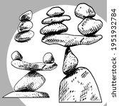 zen pyramids of balanced stones.... | Shutterstock .eps vector #1951932784
