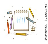 group of art supplies isolated... | Shutterstock .eps vector #1952028751