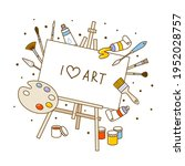 group of art supplies isolated... | Shutterstock .eps vector #1952028757