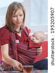 the woman with the child... | Shutterstock . vector #195205907