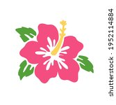 pink hibiscus flower vector... | Shutterstock .eps vector #1952114884