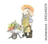 Watercolor Cute Bunny Gardener...
