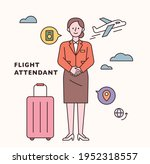 stewardess character and icon... | Shutterstock .eps vector #1952318557