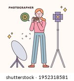 photographer character and icon ... | Shutterstock .eps vector #1952318581