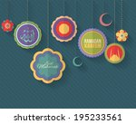 "Ramadan Kareem - Islamic Holy Nights Theme Vector Design - Arabic ""Eid Mubarak"" and ""Allah"", ""be Blessed"" and ""God"" at English - stock vector"