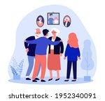 siblings talking to parents in... | Shutterstock .eps vector #1952340091