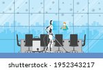 cleaning robot control by human ... | Shutterstock .eps vector #1952343217