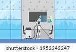 cleaning robot control by human ... | Shutterstock .eps vector #1952343247