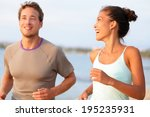 jogging fitness young mixed... | Shutterstock . vector #195235931