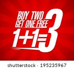 buy two get one free sale... | Shutterstock .eps vector #195235967
