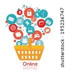 shopping design over white...   Shutterstock .eps vector #195236747
