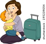 illustration of a boy clinging... | Shutterstock .eps vector #195239054