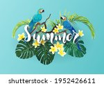 tropical summer design with... | Shutterstock . vector #1952426611