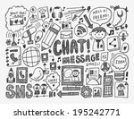 doodle communication background | Shutterstock .eps vector #195242771