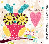 cute postcard with owls. | Shutterstock .eps vector #195243209