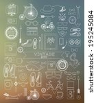 modern thin line hipster style... | Shutterstock .eps vector #195245084