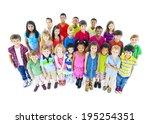 multi ethnic chidrend in casual ... | Shutterstock . vector #195254351
