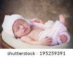 smiling newborn baby in hat and ... | Shutterstock . vector #195259391