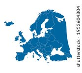 map of europe. color vector... | Shutterstock .eps vector #1952604304