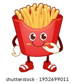 french fries mascot cartoon in... | Shutterstock .eps vector #1952699011