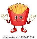 french fries mascot cartoon in... | Shutterstock .eps vector #1952699014