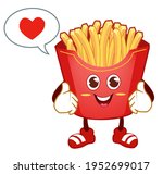french fries mascot cartoon in... | Shutterstock .eps vector #1952699017