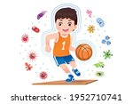 asian boy play basketball to... | Shutterstock .eps vector #1952710741