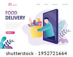 food delivery  landing page... | Shutterstock .eps vector #1952721664