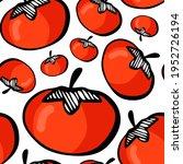 doodle art red tomato on white... | Shutterstock .eps vector #1952726194