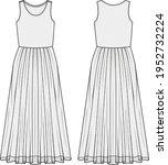 women's sheer mesh maxi dress ... | Shutterstock .eps vector #1952732224