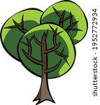 big tree doodle vector isolated ... | Shutterstock .eps vector #1952772934