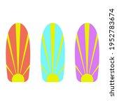 set of 3 surfboards in... | Shutterstock .eps vector #1952783674