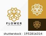 luxury line art flower lotus... | Shutterstock .eps vector #1952816314