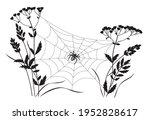 black big spider sitting on web ... | Shutterstock .eps vector #1952828617