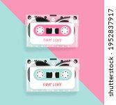 vintage cassette tape on pink... | Shutterstock .eps vector #1952837917