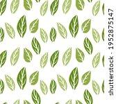 hand drawn doodle leaf pattern. ... | Shutterstock .eps vector #1952875147
