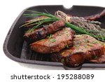 roasted beef meat fillet on bbq ... | Shutterstock . vector #195288089