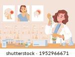 happy smiling woman in lab coat ... | Shutterstock .eps vector #1952966671