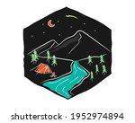 mountain camping line art vector   Shutterstock .eps vector #1952974894