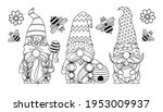set gnomes with honey and bees  ... | Shutterstock .eps vector #1953009937