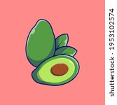 vector fresh avocado fruit icon.... | Shutterstock .eps vector #1953102574