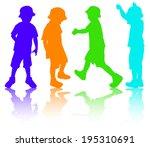 boys silhouettes | Shutterstock .eps vector #195310691