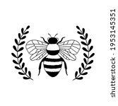 Bee Laurel Wreath. Outline...