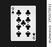 9 clubs poker card in dark...   Shutterstock .eps vector #1953173011