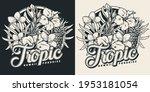 vintage monochrome tropical...   Shutterstock .eps vector #1953181054