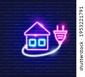 smart house neon icon.... | Shutterstock .eps vector #1953221791