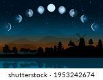 cartoon moon phases. whole... | Shutterstock .eps vector #1953242674